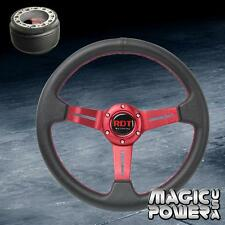 330mm Red Deep Dish Steering Wheel &Hub Adapter For Nissan 240SX S13 S14 89-98