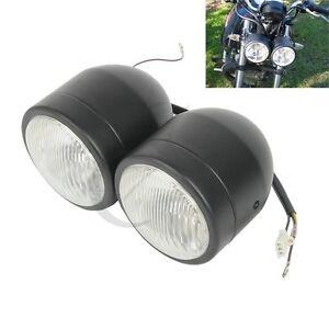 Matte Black Dual Front Headlight Fit For Streetfighter Cafe Racer Naked Motor