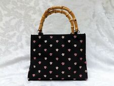 BLACK PINK FLORAL EMBROIDERED PURSE BAMBOO HANDLE, Sunny Hawaii Purse