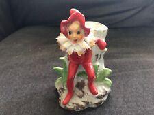 Vintage Pixie Elf Figurine Vase Planter on Tree Stump Red Outfit