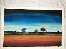 African original painting oil/acrylic listed artist signed folk tribal Landscape