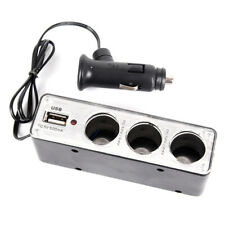 Triple Socket Splitters Cigarette Lighter Adapter Plug & USB Port 3 Way ChFJ2