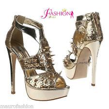 Sexy Sandalo Sera Brillantini Night Oro Borchie plateau heels tacco 14 Mis 38