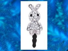 CRYSTAL RABBIT BUNNY Earphone Jack Dust Plug Cover Cell phone Iphone Android NEW