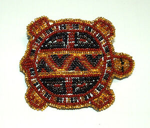 """Beaded Turtle Barrette 3.5"""" W x 3"""" L  Leather Backed French Clip Regalia #09"""