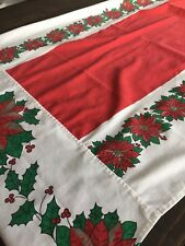 """Vintage Poinsettia Cotton Tablecloth 26 X 61"""" Christmas Holiday Large"""