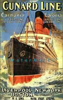 Cunard Ship Line 1905 Liverpool New York Boston Vintage Poster Print Retro Art