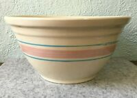 """Vintage McCoy Pottery Cream with Pink & Blue Stripes 12"""" Oven Ware Mixing Bowl"""
