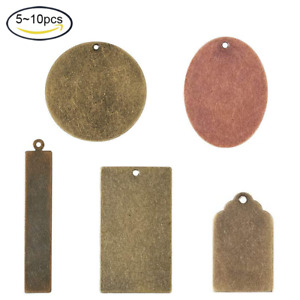 5~10Pcs Brass Blank Stamping Tag Pendants Metal Tags for Jewelry Necklace Making