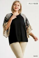 Umgee Floral Paisley Print Sleeve Waffle Knit Top Plus Size