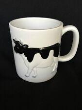 Vintage Figural Otagiri Black and White Holstein Cow Coffee Mug Hand Painted