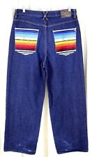 LRG ROOTS and EQUIPMENT BLUE DENIM 100%COTTON EMBROIDERED POCKETS JEANS W36 L30