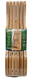 Lipper Bamboo In-Drawer Knife Tray Holds 5 Large Knives & 6 Steak/Paring Knives