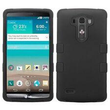For LG G3 Black Tuff Hard Silicone Hybrid Rubber Case