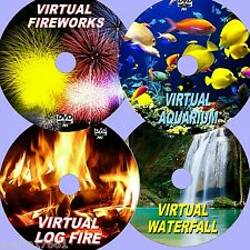 VIRTUAL WATERFALL, FIREWORKS, AQUARIUM, & LOG FIRE, 4 SUPERB RELAXING DVDs NEW