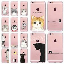 Cute Meow Cat Pattern Thin Clear TPU Case Cover For iPhone 4S 5S SE 5C 6 6S Plus