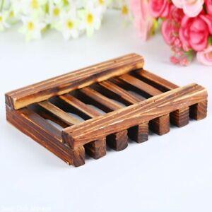 Wooden Soap Dish Holder Bathroom Plate Tray Storage Draining Case Rack Non-slip