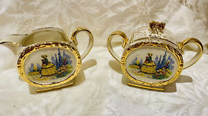 Sadler - Crinoline Lady lidded sugar bowl & creamer / milk jug