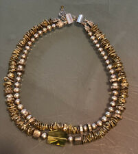 ✨Artisan AK 950 112G Sterling Silver 2 Strand Pearl Yellow Art Glass Necklace