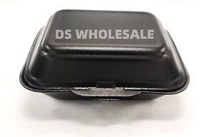 125 x Black Polystyrene Foam Food Large Containers HB9 Takeaway Box Hot Cold