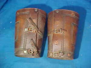 Vintage WESTERN Cowboy LEATHER Wrist GAUNTLETS Cuffs
