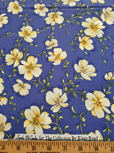 Kings Road Fabric Sandy McCauley The Collection Yellow Flowers Purple 1 1/3 Yds