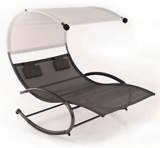 Double Swing Chair w/ Canopy Sun Shade Lounge Rocking Style Outdoor Yard Sling