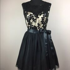 Prom Cocktail Dress 5/6 Black Sequin Lace Sweetheart Neckline Josh & Jazz