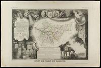 1852 - Tarn-et-Garonne - Carte géographique ancienne par Levasseur. Département
