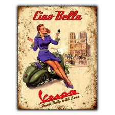 Vespa Bikes Italian Vintage Retro Old Advert Metal Wall Sign Plaque Gift bar