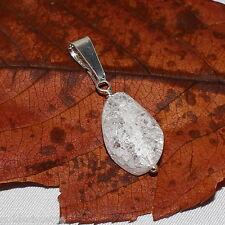 Bergkristall Anhänger – 925 Sterling Silber – weiß crack gedrehtes Oval cracked