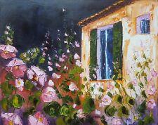 Toile originale de NOLAC 41x33 cm façade aux roses trémières peinture