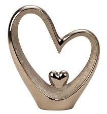 Moderno Corazón Escultura Figura decorativa hecho de cerámica plata altura 28cm