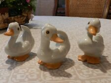 Homco Home Interiors Porcelain Set of Three White Duck Figurines #1414