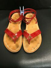 K JACQUES ANDROMEDE RED PATENT LEATHER ANKLE STRAP SANDALS SIZE 7