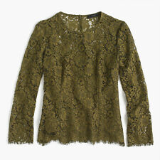 J Crew Lace Top Blouse #H2200 Burnished Moss Green 14 $98