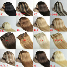 """Clip In Remy Human Hair Extensions Full Head 15"""" Straight Black Blonde Brown 70g"""