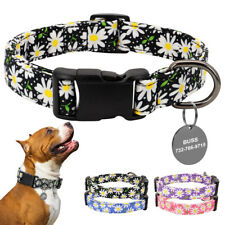 Floral Personalized Dog Collar Customized ID Name Tags Free Engraved Small Large
