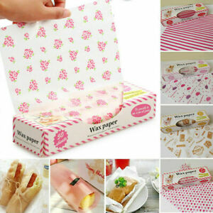 50Pcs Disposable Food Wrapping Wax Paper Hambur Sandwich Bread Candy Wrap Paper