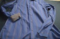 Ben Sherman Navy Blue Brown Stripe Small Contrast Cuff Men's Shirt