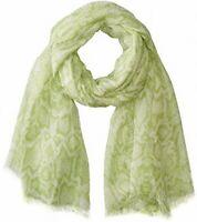 Calvin Klein Womens Scarf Aloe Green Python Print Crepe Fray-Trim Wrap $30 561