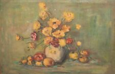 1977 Impressionist oil painting still life with fruits and flowers signed