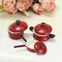 3PCS 1:12 Dollhouse Miniature Red Dot Frying Pan Pot For Kitchen Cooking Kit.