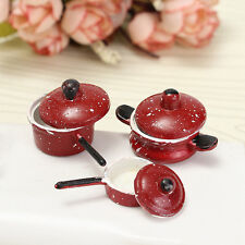 3PCS 1:12 Dollhouse Miniature Red Dot Frying Pan Pot For Kitchen Cooking Kit