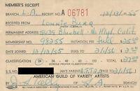 Mickey Mouse Club 1955 TV Union Card 1st Year Mouseketeer Walt Disney Studios
