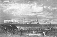 SAILBOAT SHIPWRECK on BEACH MARGATE HARBOUR ~ 1875 SEASCAPE Art Print Engraving