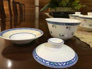 Villeroy & Boch Adeline Super Rare 3-piece Gaiwan Chinese Tea Cups 8x Person Set