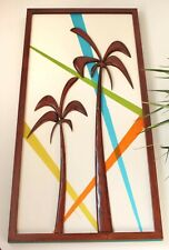Mid-century modern wall sculpture - Palm trees - Retro color wood wall art
