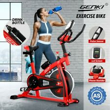 GENKI Spin Bike Exercise Bike Home Flywheel Cycling Training w/LCD Monitor Red