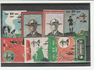 BOY SCOUT WORLD JAMBOREE 1957 ESPERANTO LABELS x 7 WITH HINGE MARKS (458)